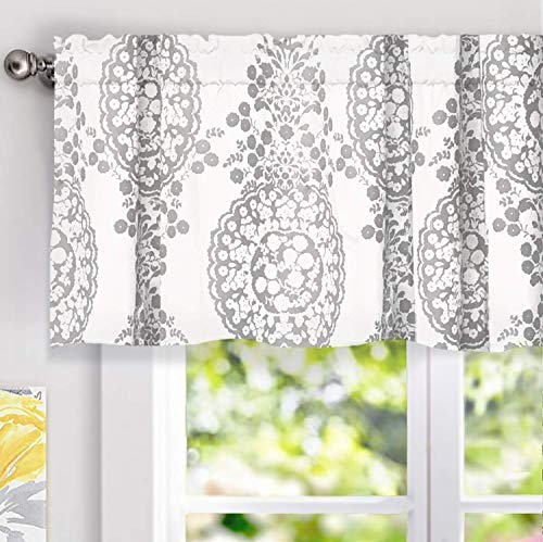 DriftAway Samantha Window Treatment Valance, Floral/Damask Medallion Pattern, Rod Pocket, 52