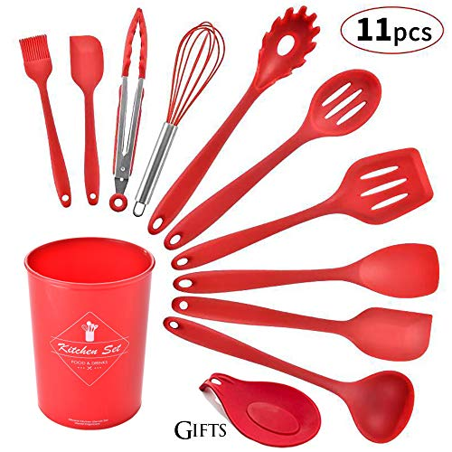 Silicone Kitchen Utensil Set, Heat-Resistant Non-Stick Silicone Cooking Tools (red holder)