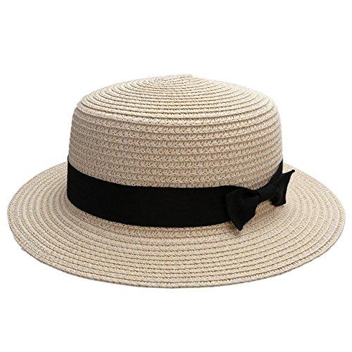 Ayliss® Damen Mädchen Pork Pie-Hüte Panamahut Sommerhut Strohhut Bogarthut Stromütze mit Ripsband (Beige-Weiß)