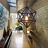 Industrial Retro Chandeliers American Style Polyhedron Pendant Lamp Black Wrought Iron Ceiling Lights Diamond Sphere Lighting Fixture Mini