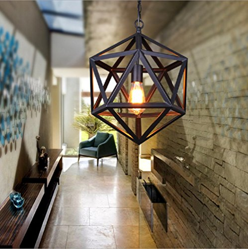 Light Wrought Iron Foyer Fixture (Industrial Retro Chandeliers American Style Polyhedron Pendant Lamp Black Wrought Iron Ceiling Lights Diamond Sphere Lighting Fixture Large)