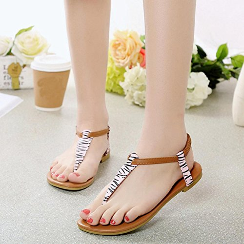 Sandalias de mujer, Internet Zapatos planos de las sandalias de Bohemia de las mujeres (36, Amarillo)