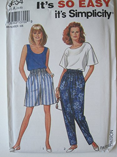 Simplicity Pattern 8254 Misses' Pants, Shorts, Top, and Tank Sizes 10-12-14-16-18-20