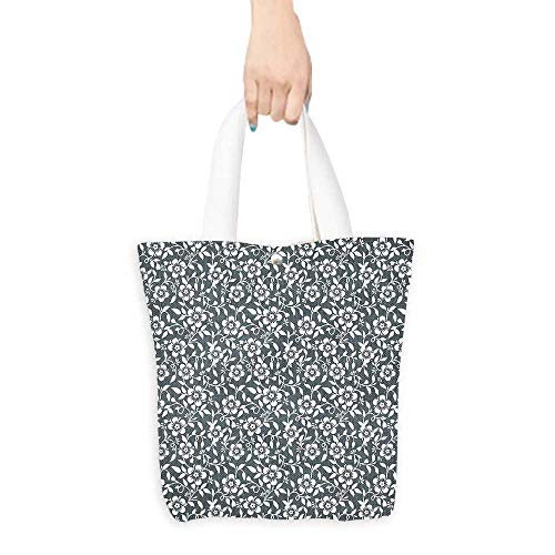 (Personalized Pattern Custom Shopping Bag House Decor Floral Silhouette Timeless Climbing Plants Good Old Times Monochrome Artful (W15.75 x L17.71 Inch))