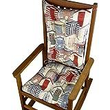 Porch Rocker Cushions - Beach Huts Cape Cod Vintage -Indoor   Outdoor: Fade Resistant, Mildew Resist