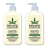 Hempz Sensitive Skin Herbal Body Moisturizer, Off White, 17 Fluid Ounce (2 Pack)