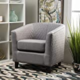 Kasey Grey Harlequin Pattern Fabric Club Chair Review