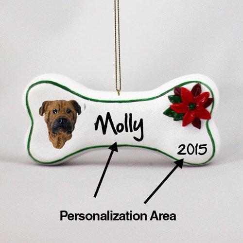 Bullmastiff Personalizable Dog Bone Christmas Ornament - Hand Painted - Delightful
