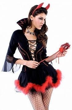 Adulto Mujer 3 piezas Sexy Negro Rojo Piel Recortado Halloween ...