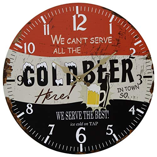 (Lily's Home Retro Style 1960s Vintage Inspired Man Cave Beer Wall Clock, Fits Well in Man Cave, Den or Game Room, Battery-Powered with Quartz Movement, Ideal Gift for Beer Lover (13