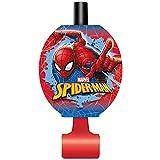 Unique 59232 Spiderman Party Blowers, 8 Count