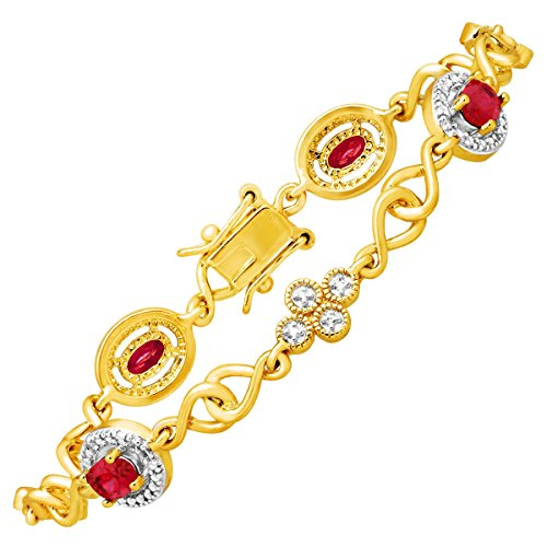 2 3/8 ct Created Ruby Tennis Bracelet with Diamond in 14K Yellow Gold Flashed & Sterling Silver-Plated Brass 14k Yellow Gold Ruby Bracelet