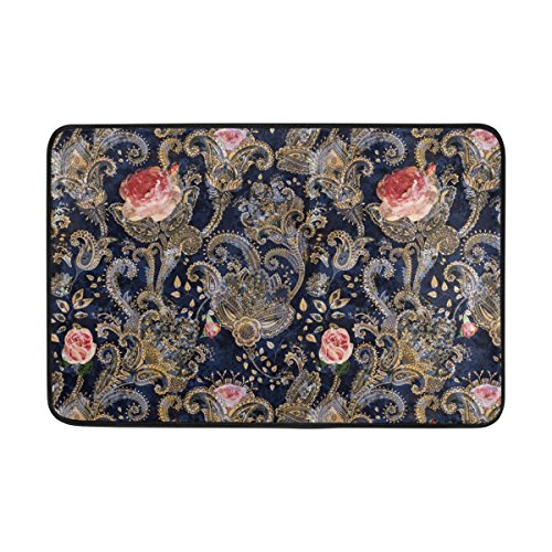 ALAZA 23.6x15.7 inch Non-Slip Polyester Doormat Colorful Flowers And Roses Persian Indian Decorative Style Washable Entrance Door Mat Floor for Living Room Toilet Patio Garage
