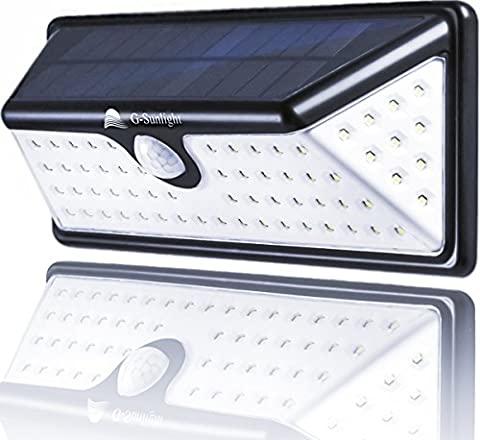 Outdoor Solar Power Wall Light - 73 LED And Wireless Motion Security Sensor - Waterproof Solar Lights - Wide Angle Design With 10 LEDs Both Side - Great For (Exterior Doors With Side Lights)