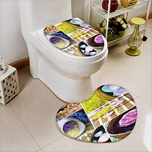 aolankaili 2 Piece Toilet lid Cover mat Set Organic Cosmetics Theme Wooden B Petals Candle Pebbles Therapy Oils Brown Soft Shaggy Non Slip ()