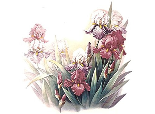 "197 Scintillation Purple Iris Flower Waterslide Ceramic Decals By The Sheet (1 1/2"" X 1"" * 24 pcs)"