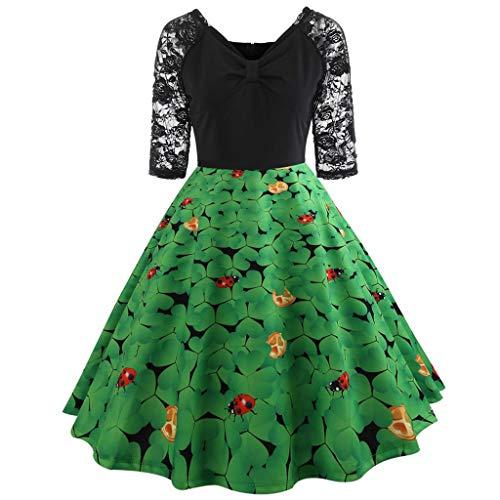(Beautyfine Flare Dress Women St Patrick's Day Half Sleeve Lace Patchwork Print Casual Dresses)