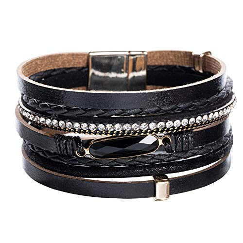 (Vercret Leather Wrap Bracelet for Women - Multi-Layer Bracelets for Girl, Ideal Gift Black Crystal Bracelet for Women, Big Sister, Mom(Black Crystal))