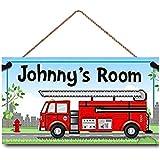 Boys Fire Chief Bedroom DOOR SIGN with Red Firetruck DS0011