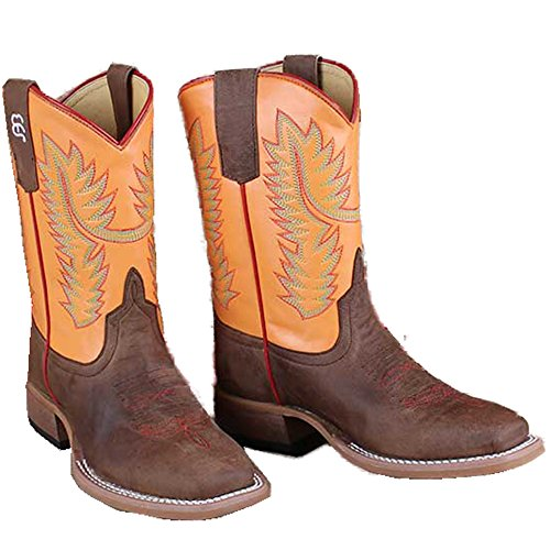 (Anderson Bean Kids Orange Top Mad Dog Western Cowboy Boots )