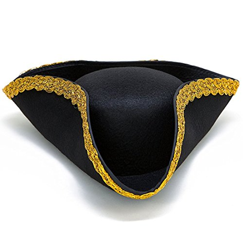 Colonial Tricorn Hat - 17th Century Revolutionary War Pirate Hat Costume Accessory - Party Favor Dress up Hat - Single Pack - Black with Gold (Adam Eve Costume Make)