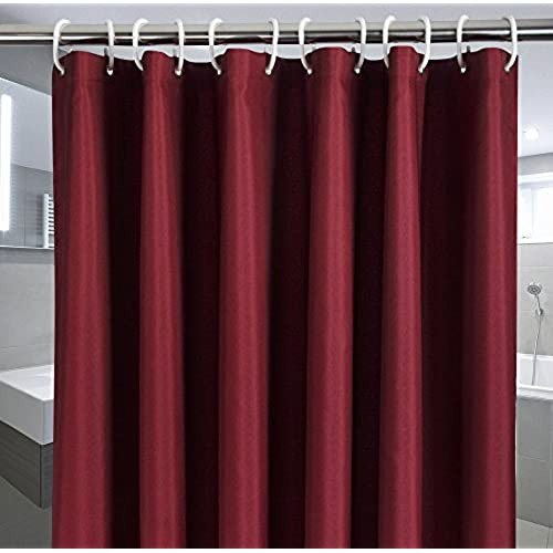 Elegant Fabric Shower Curtain Water Repellent No More Mildew With Rust Proof Grommets Thick Polyester Bath Durable For Home And Hotel Burgundy