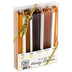 Holiday Gift Set, 5 Flavor Honey Variety Gift Box, Natural WILDFLOWER Honey Sticks NO ADDITIVES - NO COLORING - Great as a New Years gift or Unique Gift Basket for Women, Original Idea - Oh! Nuts