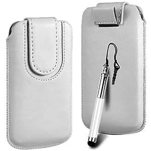 N4U Online Premium PU tirón del cuero del tirón del caso Tab cubierta de bolsa con correa de cierre magnético y Retractable Stylus Pen Para Vodafone 555 Blue - Blanco