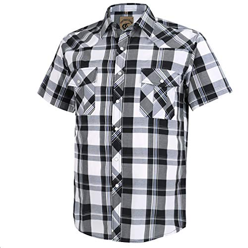 (Coevals Club Men's Short Sleeve Casual Western Plaid Snap Buttons Shirt (S,)