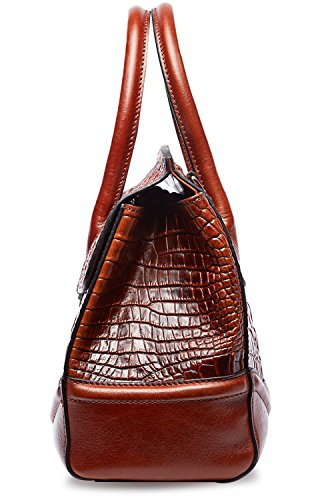 PIFUREN Crocodile Handbag Genuine Cow Leather Shoulder Top Handle Bag M1105 (One Size, Brown) by PIFUREN (Image #4)