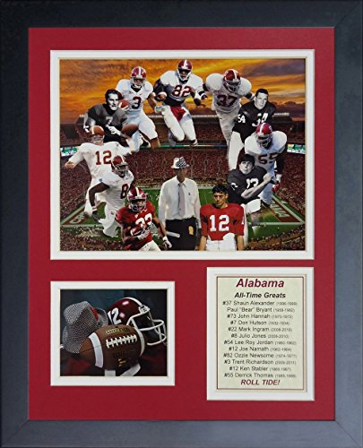 Legends Never Die Alabama Crimson Tide Greats Collage, 11-Inch by 14-Inch Framed Photo Collage, 11 by 14-Inch ()