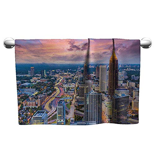 xixiBO Custom Towel W28 x L12 Modern,Atlanta City Skyline at Sunset with Hazy Light Georgia Town American View,Baby Pink Blue Silver Large and Thin Beach - Atlanta Roll Paper Holder