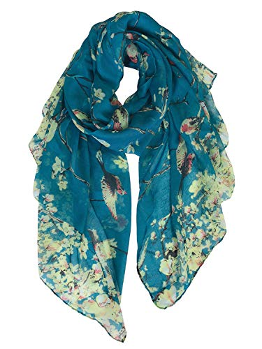 GERINLY Cozy Scarves for Women Fashion Floral Birds Print Scarf Christmas Head Wrap (Teal)