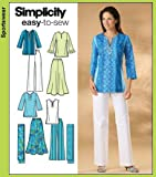 Simplicity Easy to Sew Pattern 4149 Misses Skirt, Pants, Tunic Top and Scarf Sizes 10-12-17-16-18