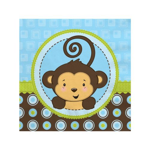 Blue Monkey Boy - Baby Shower or Birthday Party Cocktail Beverage Napkins (16 count) (Napkin Monkey)