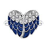 luomart Angel Wing Mood Ring Heart Color Changing White Gold Plated Austrian Crystal Magic Ring Gift (6.5)