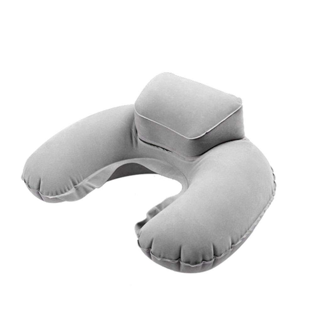 Saying Travel Pillow, Inflatable Neck Pillow, Compact Portable Head and Neck Support Pillows in Flight, Small U Shape Headrest Cushion for Best Rest (Gray)