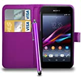 Sony Xperia Z1 COMPACT Leather Wallet Flip Case Cover Pouch & Touch Stylus Pen + Screen Guard & Cleaning Cloth (Dark Purple)