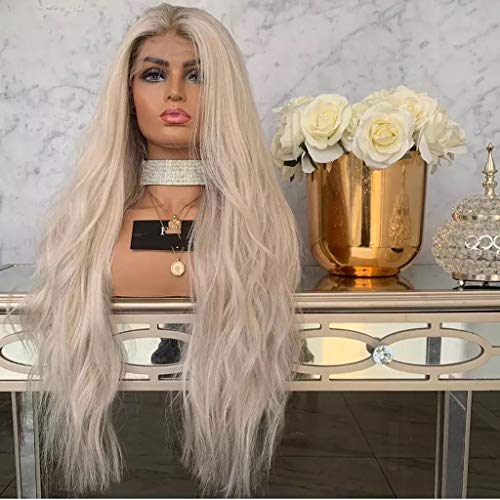 Lace Front Wigs Natural Mix Colors Grey Wigs for Women Synthetic Long Wave Heat Resistant Hair Costume (L) ()