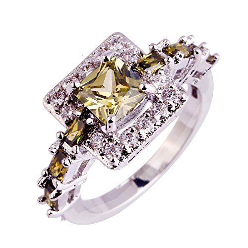 - Psiroy 925 Sterling Silver Created Peridot Filled Princess Cut Halo Engagement Ring Size 10