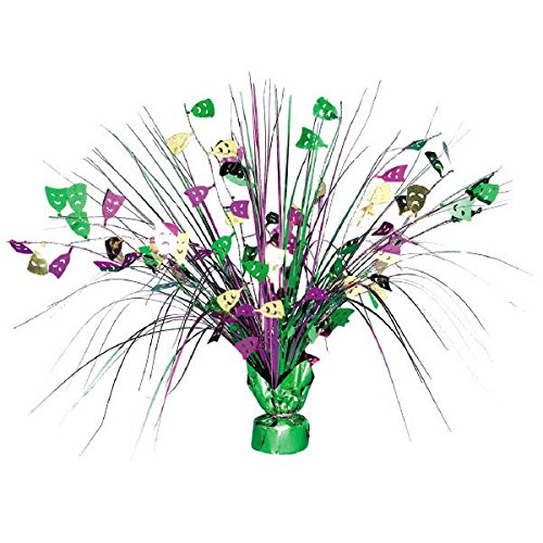 (Amscan Eye-Catching Mardi Gras Party Spray Centerpiece Table Decoration, Foil, 18