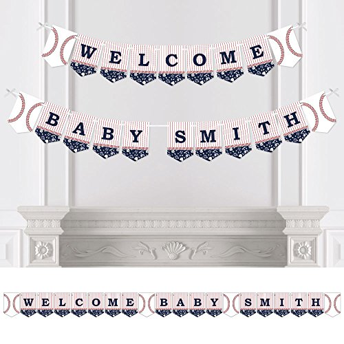 Custom Batter Up - Baseball - Personalized Baby Shower Bunting Banner & Decoration - Welcome Baby Custom Name Banner (Baseball Themed Baby Shower)