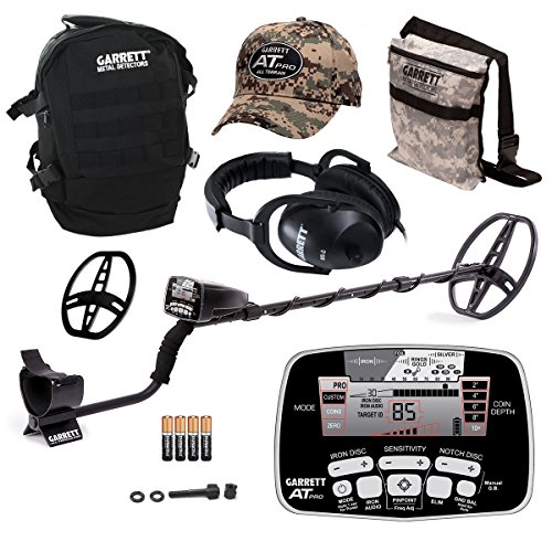 Garrett AT PRO Metal Detector with Headphones, Backpack, Pouch, Hat and Searchcoil Cover