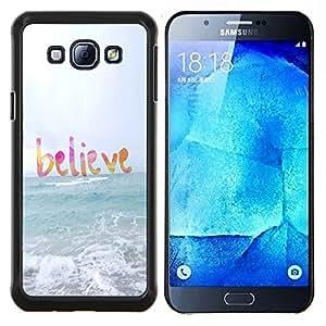 Samsung Galaxy A8 ( A8000 ) - Impreso colorido protector duro espalda Funda piel de Shell (Credete Dio Sun Sea Beach Estate Testo)