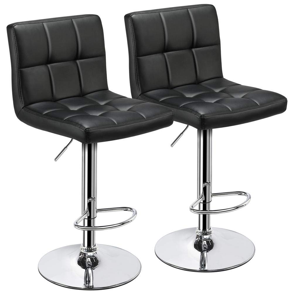 Yaheetech Bar Stools Set of 2 - Modern Adjustable Kitchen Island Chairs Counter Height Barstools Swivel PU Leather Chair Black 30 inches,X-Large Base and Seat by Yaheetech