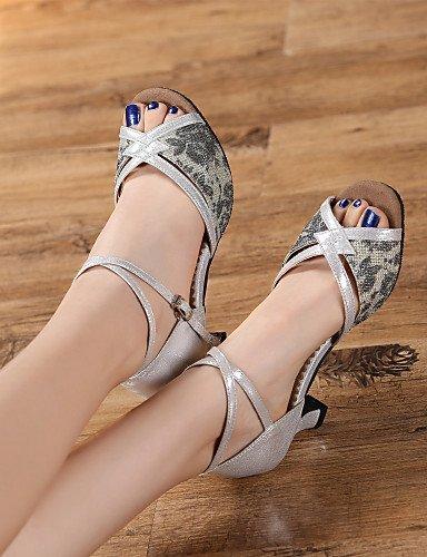 ShangYi Chaussures de danse(Noir / Argent / Or) -Personnalisables-Talon Personnalisé-Similicuir / Paillette Brillante-Latine Black
