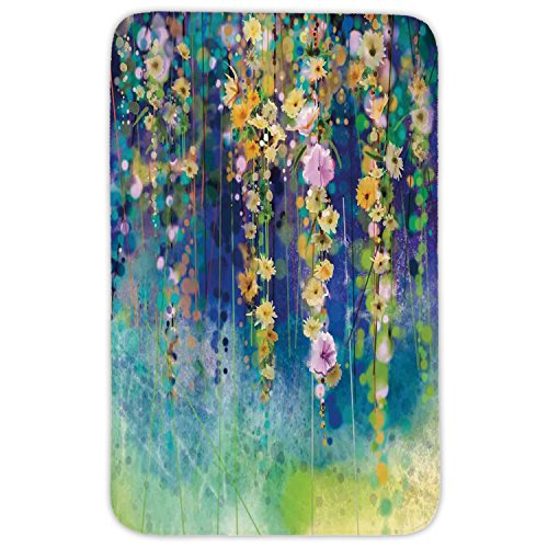 Rectangular Area Rug Mat Rug,Watercolor Flower,Vines Flowers in Soft Colors Summer Garden Watercolor Artwork,Indigo Mustard Green,Home Decor Mat with Non Slip Backing by iPrint