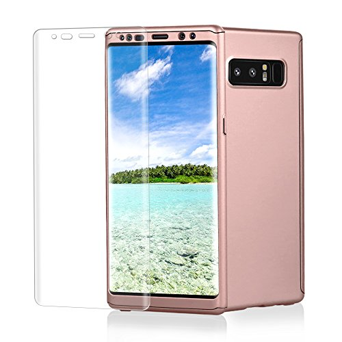 (Samsung Galaxy Note 8 case, VPR 3 in 1 Ultra Thin Full Body Protection Slim Hard Premium Luxury Cover Shock Absorption PC [With TPU and Film Screen Protector] case for Note 8 2017 (RoseGold))