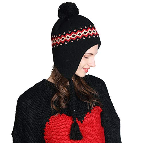 Jeff & Aimy Winter Wool Peruvian Hat Women Pom Beanie Earflap Hats Ski Caps Fleece Lining Black One Size