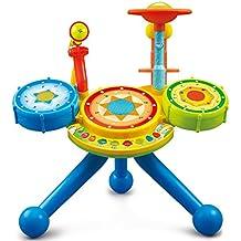 Instrumento Musical Para Bebes y Niños Pequeños - Bateria Electrica De Juguete Con Luces Y Sonidos Microfono Y Banco Incluido - Juguetes Interactivos Y Educativos Para El Aprendizaje De Tus Hijos